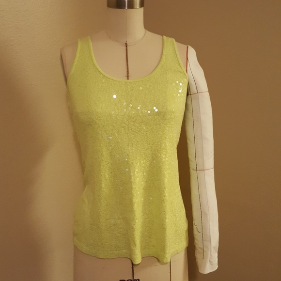 124034ef21167 Express Tops - EXPRESS Summer Tank Top Pale Lime Green M Sequined